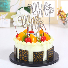 1 pc Mr & Mrs Cake Topper Birthday Cake Flag Banner Baking Cupcake Cake Decoration Rhinestone Bling Wedding Decor Party Supplies