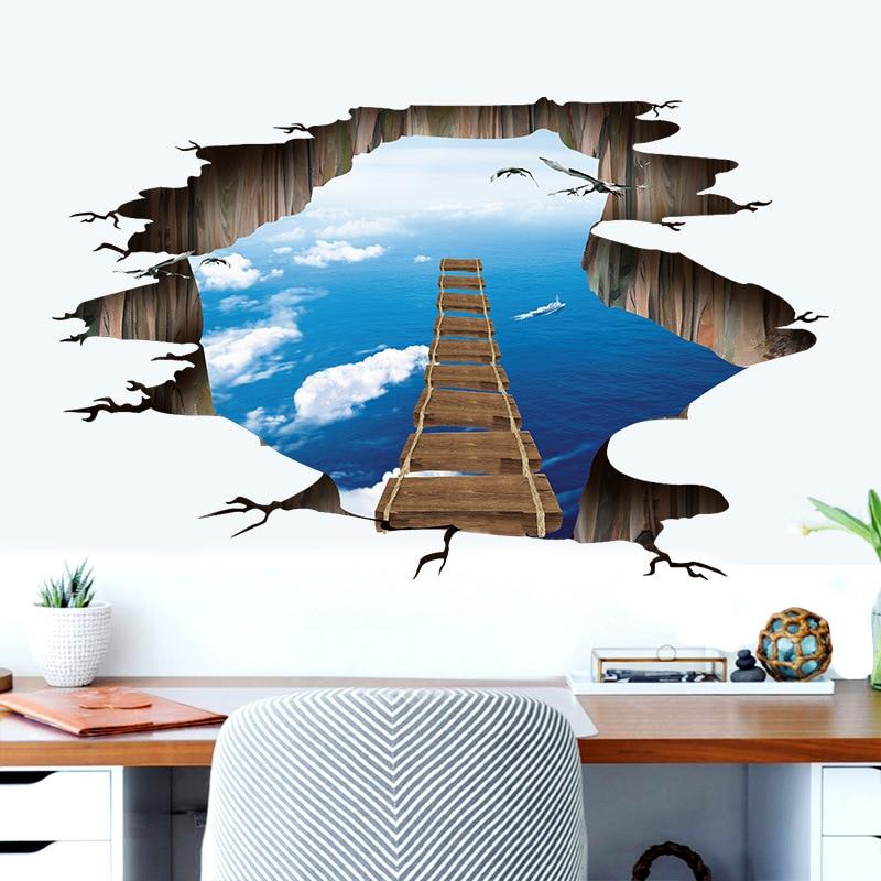 Piso Ponte 3D Adesivo De Parede removível mural decalques Arte De Parede Decoração Sala
