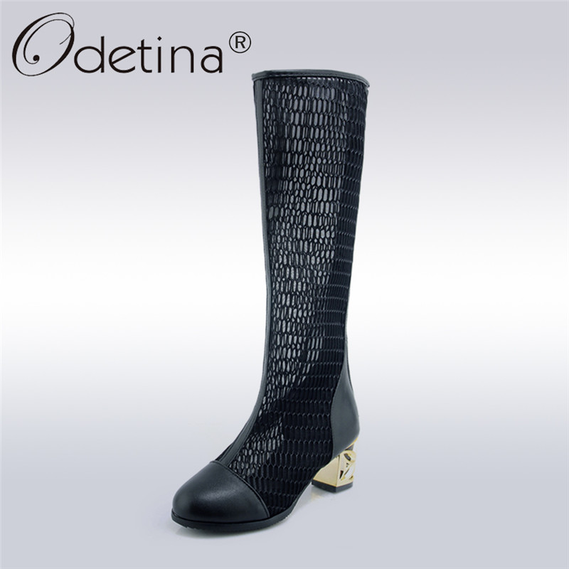 Odetina 2018 New Fashion Women Spring Mesh Long Boots Square High Heels Fretwork Heel Shoes Ladies Knee High Boots With Zipper<br>