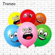 Tronzo 10 Pcs Happy Birthday Party Balloons Smile Face Expression Balon Latex Air Globos For Halloween Decorations Mix Color