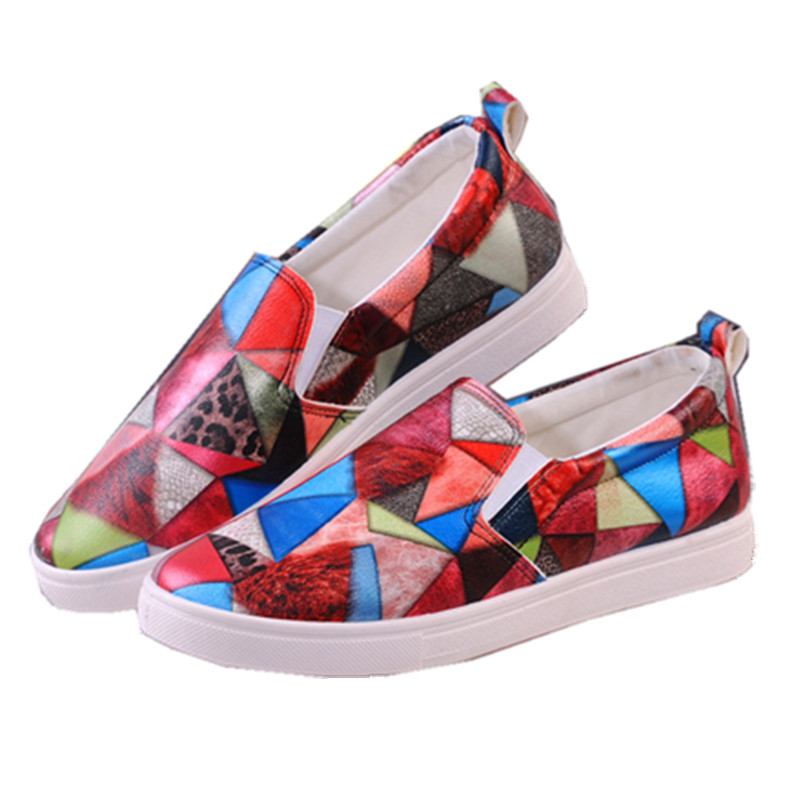 2016 Spring Autumn Women PU Leather Shoes for Girls Colorful Loafers Floral Print Casual Slip On Shoes Zapatos Mujer 5 Styles<br><br>Aliexpress