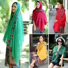 Women Large Embroidered Cotton Linen Floral Scarf Pashmina Shawl Wrap Scarves(China)