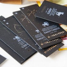 12 pcs/lot Vintage Zodiac Bookmark Card Black Paper Antiques Bookmarks Creative Gift Korean Stationery 01422