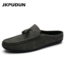 JKPUDUN Summer Mens Tassel Loafers Luxury Brand 2017 Fashion Leather Half Shoes For Men Moccasins Slipon Breathable Shoes Casual(China)