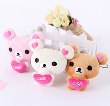 Super Kawaii NEW Wedding Love Heart Rilakkuma Bear Stuffed Toy Doll , 9CM Mix Colors Stuffed Bear Plush TOY DOLL