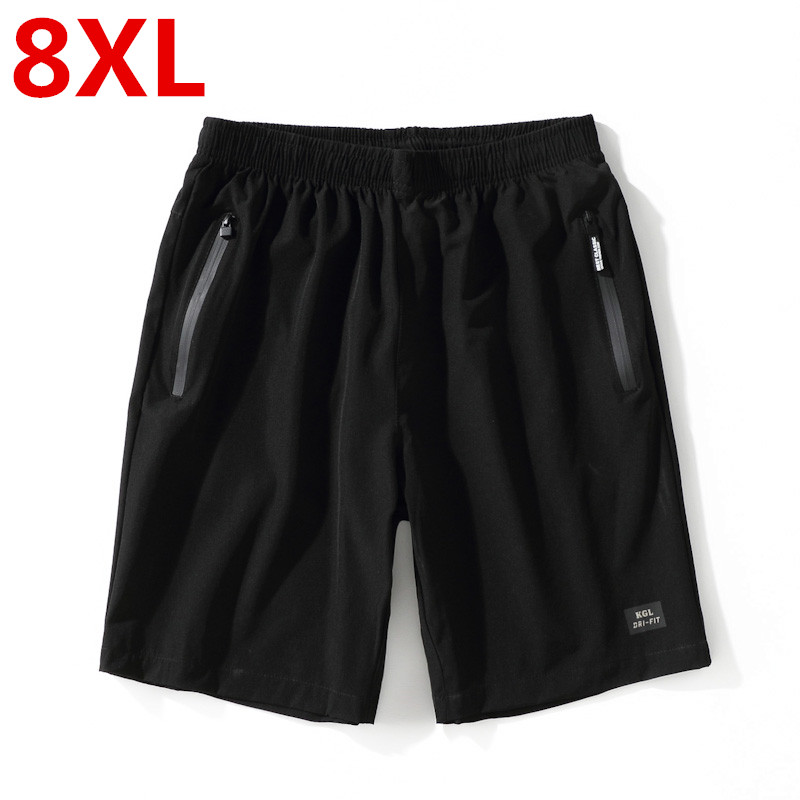 8XL Men Black Running Shorts Zipper Pocket Outdoor Sport Shorts Men Gym Workout Training Shorts Elastic Waist Reflective Shorts