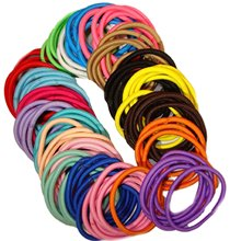 200 Hair Elastics thick Hair Ties No Crease Ponytail Holders no metal clamp 4mm width (200 Hair Elastics--Rainbow) D25