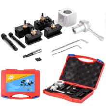 1Set Mini Multifid Quick Change Tool Post + Boring/Facing/Turning Holder with M8/M10 Mounting Bolts Kit For Lathes Tools