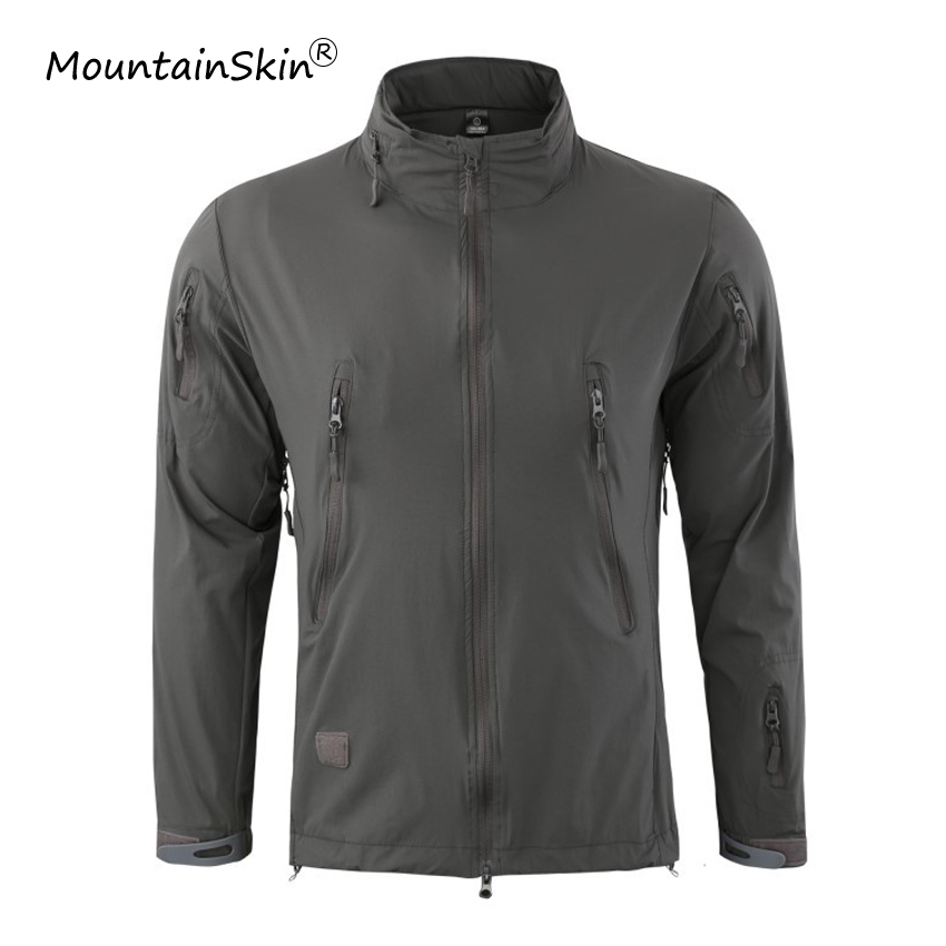 Mountainskin Men's Military Tactical Jackets Casual Soft Shell Thin Coats Breathable Hidden Hood Jacket Brand outerwears LA698