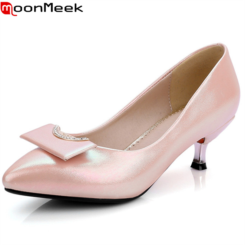 MoonMeek 2018 new sexy female fashion pumps pointed toe thin heels slip on shallow pink white colour casual woman shoes<br>