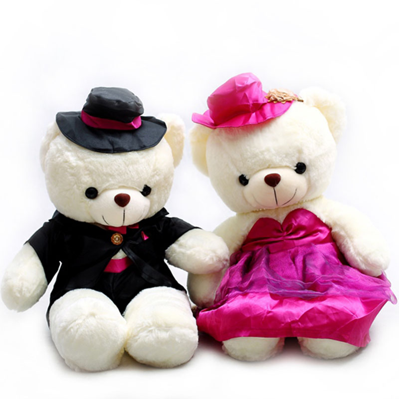 2pcs Teddy Bear Plush Toy Wedding Bear Stuffed Soft Toy Couple Bear Wedding Gift For Girlfriend D73Z<br>