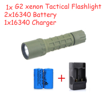 300 lm Flashlight Tactical Torch CR-123A for SureFire G2 Xenon Torch & 2x16340 Rechargeable Battery + Charger