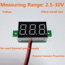 5PCS/LOT Yellow Led Display DC 2.5-30V Car Digital Volt Voltage Panel Meter Gauge Auto Voltmeter Battery Monitor Free Shipping(China)
