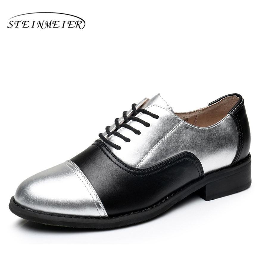 Genuine leather big woman US 11 designer vintage flats shoes round toe handmade silver black 2017 oxford shoes for women fur<br>