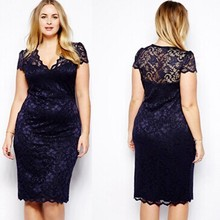 2017 Big Size Sexy Dress Navy Blue Scalloped V-neck Lace Dresses Novelty Mesh Midi Dress Large Plus Size XXL XXXL Women Clothing(China)