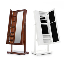 iKayaa US UK FR Stock Jewelry Cabinet Armoire Tilt Adjustable Jewelry Storage Box Organizer with Dressing Mirror