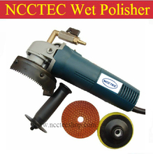 4'' NCCTEC angle WET polisher | 100mm hand held electric polisher with port for adding water | FREE gift of polish and stick pad