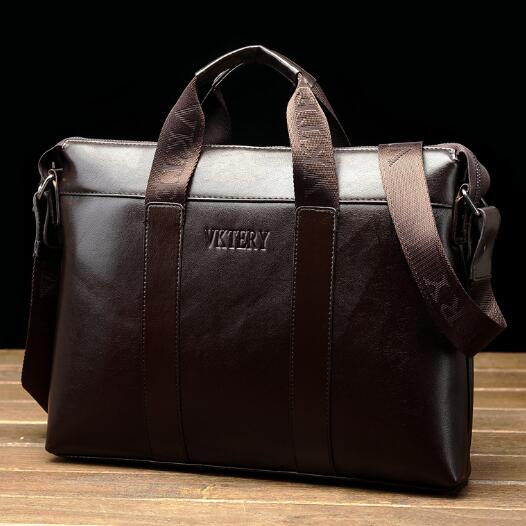 VKTERY Fashion Mens business Briefcases large capacity Wax Leather shoulder handbag laptop bag Black Brown<br>