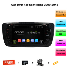Android 5.1 SEAT IBIZA 2009-2013 CAR DVD GPS Capacitive touch screen Cortex A9 Qual-core1.6G 16GB Rom CARA AUDIO DVD+GIFT