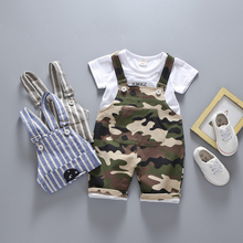 In Stock! Baby Camouflage Clothing Sets, Boys T-shirt + striped overalls 2pcs clothes kids summer clothes a30