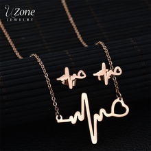 Uzone Lovely Heart Heartbeat Jewelry Set Stainless Steel Necklace Earring Set For Women Engagement Gift Bijoux Etsy(China)