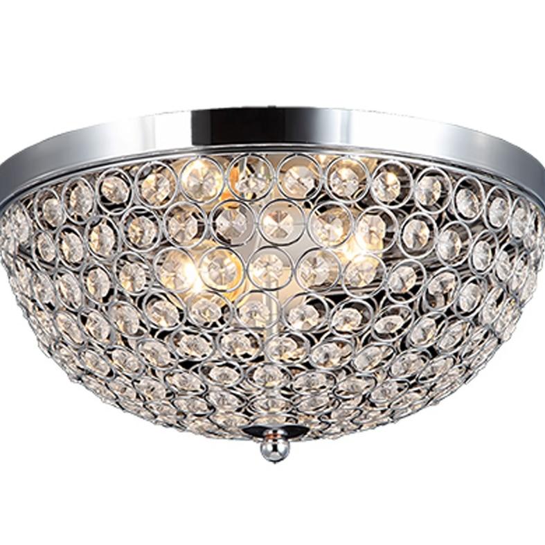 Elegant Designs 2 Light Elipse Crystal Flush Mount Ceiling Light - Chrome