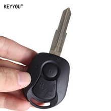 KEYYOU 2 BUTTONS REMOTE KEY SHELL FOR SSANGYONG ACTYON KYRON REXTON UNCUT BLADE KEY FOB COVER CASE REPLACEMENT WITH LOGO