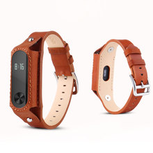 Fashion Xiaomi Mi Band 2 Leather Strap for Original Miband2 OLED Smart Bracelet Wristbands Black Brown Red Replace Wrist Belt
