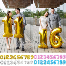 Hot Wedding Decoration 40inch number 0-9 Digital Figure Number Balloon Aluminum Foil Helium Balloon Birthday Party Celebration