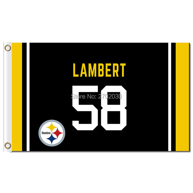 NO. 58 LAMBERT Fan Banner Flag Pittsburgh Steelers Team Flag World Series Football Pittsburgh Steelers LAMBERT Flag(China (Mainland))