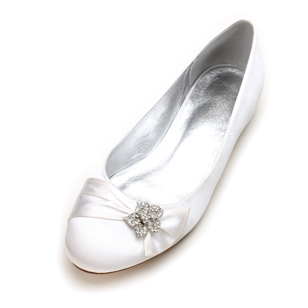 Creativesugar rounded toe satin dress flats shoes with star crystal rhinestone charm clip elegant bridal wedding prom lady shoes<br>