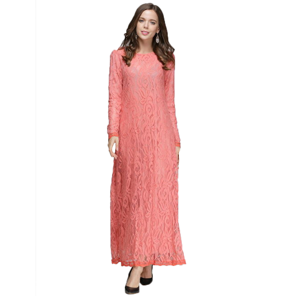 2017 New Hot Fashion Muslim Lace Dress O Neck Women Long Sleeve Ankle Length Elegant Arab World Womens Outwears Vintage Clothing