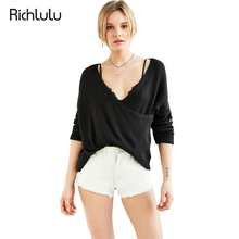 Richlulu Women Solid Gray Black Sweaters Deep V-neck Long Sleeve Wrap Sweaters Loose Sexy Lady Tops Casual Female Sweaters(China)