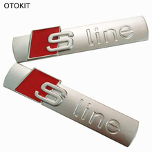 OTOKIT 3D Metal Car S line Sticker Sports for Audi Sline Logo A3A4 A5 A6 Q3 Q5 Q7 B7 B8 C5 S6 Auto Car Decal Accessories Styling