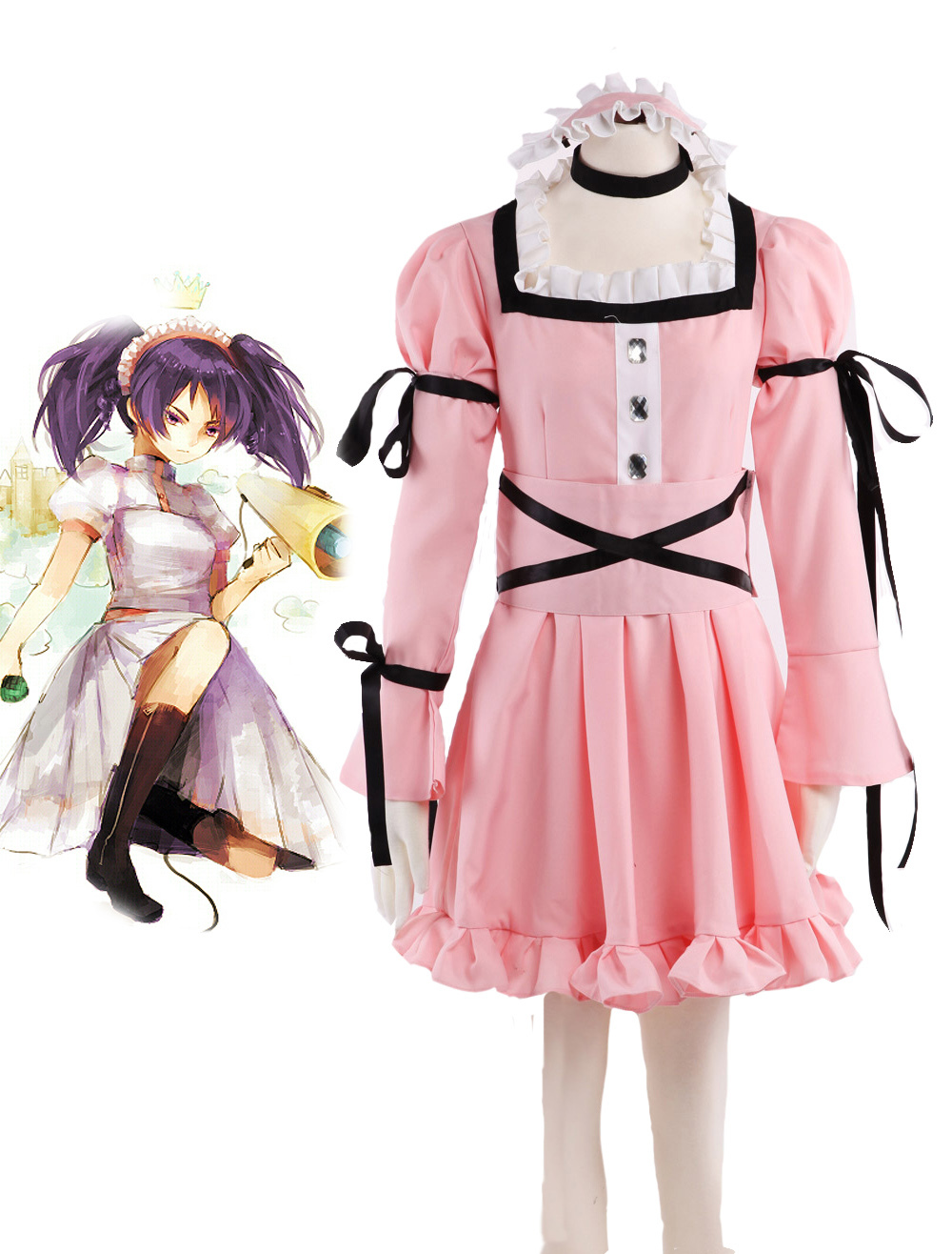 S-3XL Halloween Party Cos Anime The Future Diary Mirai Nikki Cosplay Uryuu Minene 9th Pink dress Cos Man Woman Cosplay Costume