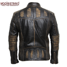 MAPLESTEED Vintage Motorcycle Jacket Men Leather Jacket 100% Cowhide Genuine Leather Jackets Mens Biker Coat Moto Jacket 5XL 090(China)