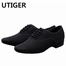 New Men's Oxford cloth Modern dance shoes black Ballroom dancing shoes heel 25mm cow suede soft outsole square dance shoes WD324(China)
