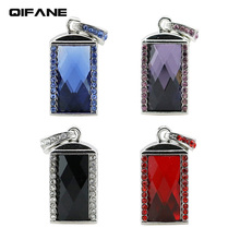 QIFANE Crystal stone U Disk 32GB 64G Metal Creative pen drive 4G 8G 16G gorgeous Jewellery USB Flash Drive gift memory stick(China)