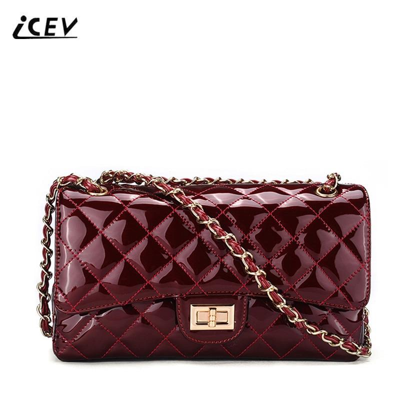 ICEV New Fashion Patent Leather Women Messenger Bag Luxury Handbags Women Bag Designer High Quality Women Leather Handbags Bolsa<br>