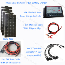 400w Complete Diy solar system kit 12V; flexible solar panel 100w 4pcs; 1*30A solar charge controller; 1 set solar cable 3M