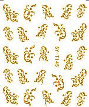6 PACKS / LOT Gold/ Silver  Water Stickers Metallic Nail Decals FLOWER VINE LILAC ROSE WINTER BLOSSOM SYT145-150