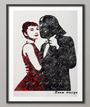 Original Watercolor Audrey hepburn Darth Vader poster prints canvas painting wall art Pictures Living Room Decor Giclee prints
