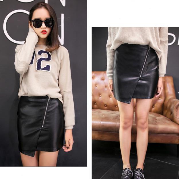 FEITONG Women Faux Leather Skirt High Waist Skater Flared Pleated Short Mini Skirts Fashion PU leather Zipper Black Female skirt