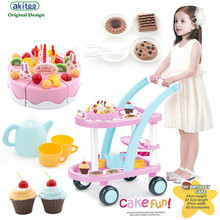 akitoo 3226 Upgrade Girl House Shop Shopping Cart Toy Pink Birthday Cake Cut look Baby Cosplay earluy education toys gift(China)