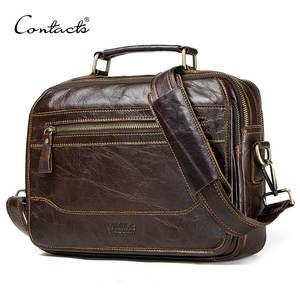 CONTACT'S мужская сумка-мессенджер из коровьей кожи, мужская сумка-портфель, большие повседневные сумки на плечо высокое качество 2019