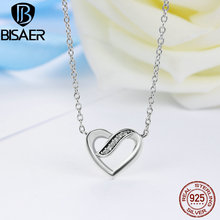 100% 925 Sterling Silver Necklace Ribbons Of Love, Clear CZ Heart Pendant Necklaces for Women Luxury Silver Jewelry GYN016