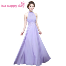 long purple lilac elegant sexy plus size halter chiffon bridesmaid lace top bridsmaids dresses under 50 for wedding H3568