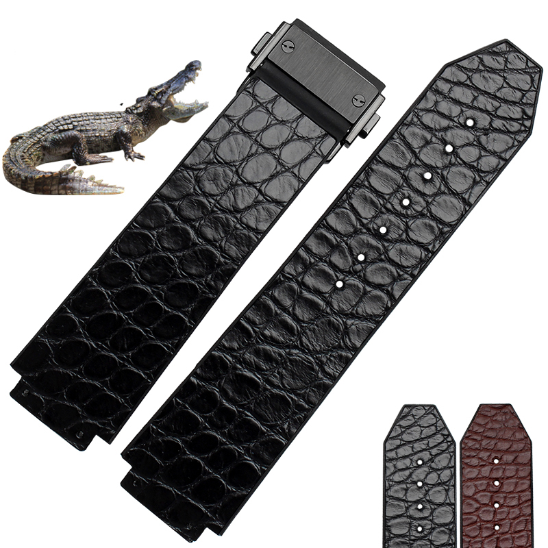 25*18mm High Quality straps Genuine Leather crocodile leather +rubber WatchBand with folding Deployment Buckle free shipping<br><br>Aliexpress