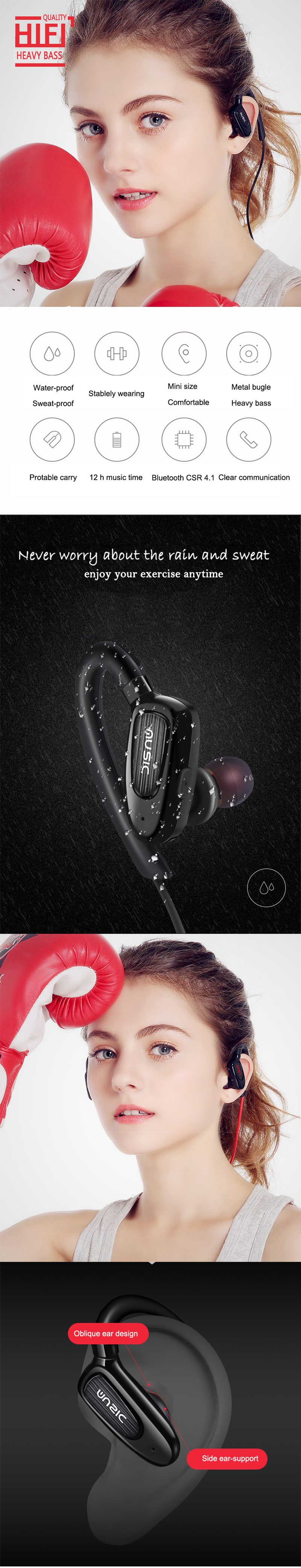 Ubit S5 HIFI Bluetooth Earphone CSR4.1 Sports Ear-hook Headset Sweatproof Wireless Headphone With Mic Hands-free Calls Earbuds