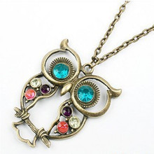 2017 New Retro Vintage Color Necklace Block Drill Hollowing Carved Cute Owl Pendant Necklace Jewelry Gift(China)